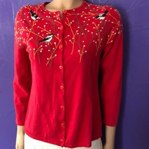 Cold water Creek Red Bird Cardigan size med